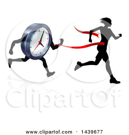 Clipart of a Silhouetted Woman Running Through a Finish Line Before a Clock Character - Royalty Free Vector Illustration by AtStockIllustration