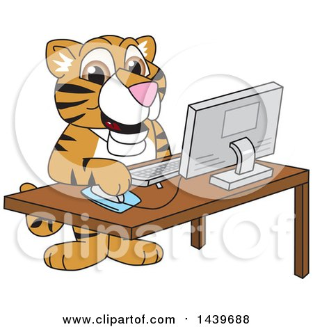 Clipart of a Tiger Cub School Mascot Character Using a Computer - Royalty Free Vector Illustration by Toons4Biz