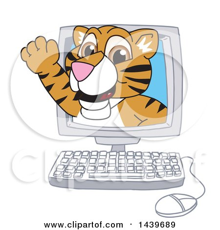 Clipart of a Tiger Cub School Mascot Character Emerging from a Computer Screen - Royalty Free Vector Illustration by Toons4Biz
