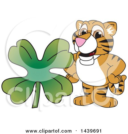 Clipart of a Tiger Cub School Mascot Character with a St Patricks Day Clover - Royalty Free Vector Illustration by Toons4Biz