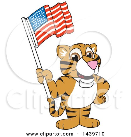 Clipart of a Tiger Cub School Mascot Character Waving an American Flag - Royalty Free Vector Illustration by Toons4Biz