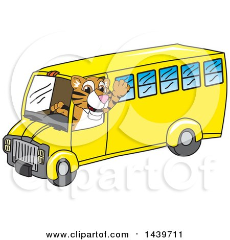 Clipart of a Tiger Cub School Mascot Character Driving a School Bus - Royalty Free Vector Illustration by Toons4Biz