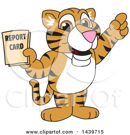 Clipart of a Tiger Cub School Mascot Character Holding a Report Card - Royalty Free Vector Illustration by Toons4Biz