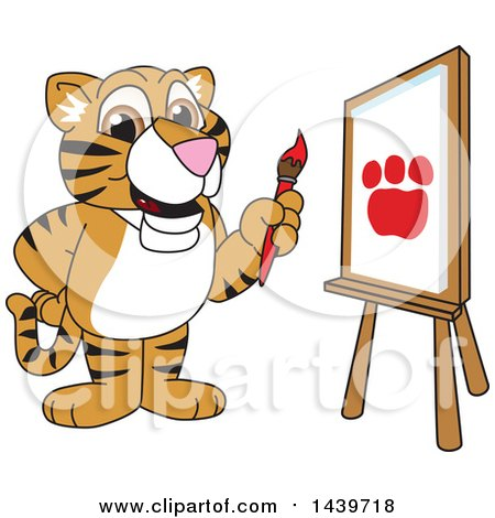 Clipart of a Tiger Cub School Mascot Character Painting - Royalty Free Vector Illustration by Toons4Biz