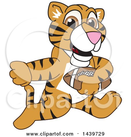 Clipart of a Tiger Cub School Mascot Character Playing Football - Royalty Free Vector Illustration by Toons4Biz