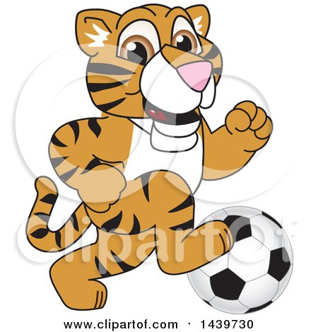 Clipart of a Tiger Cub School Mascot Character Playing Soccer - Royalty Free Vector Illustration by Toons4Biz