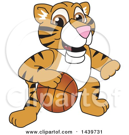 Clipart of a Tiger Cub School Mascot Character Playing Basketball - Royalty Free Vector Illustration by Toons4Biz