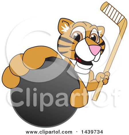 Clipart of a Tiger Cub School Mascot Character Grabbing a Hockey Puck and Holding a Stick - Royalty Free Vector Illustration by Toons4Biz