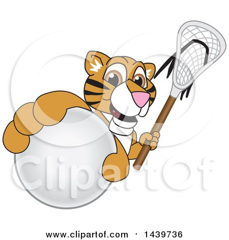 Clipart of a Tiger Cub School Mascot Character Grabbing a Lacrosse Ball and Holding a Stick - Royalty Free Vector Illustration by Toons4Biz