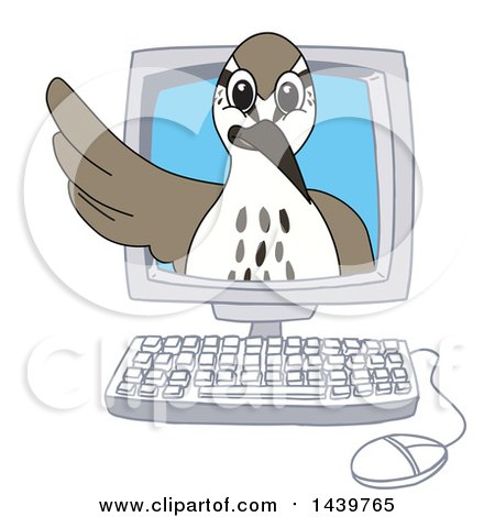Clipart of a Sandpiper Bird School Mascot Character Emerging from a Computer Screen - Royalty Free Vector Illustration by Toons4Biz