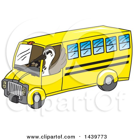 Clipart of a Sandpiper Bird School Mascot Character Driving a School Bus - Royalty Free Vector Illustration by Toons4Biz