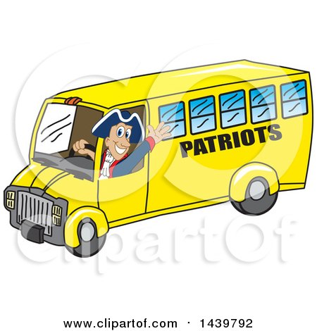 Clipart of a Patriot School Mascot Character Driving a School Bus - Royalty Free Vector Illustration by Toons4Biz