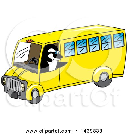 Clipart of a Killer Whale Orca School Mascot Character Driving a School Bus - Royalty Free Vector Illustration by Toons4Biz