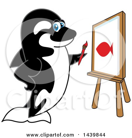 Killer Whale Orca School Mascot Character Painting Posters, Art Prints