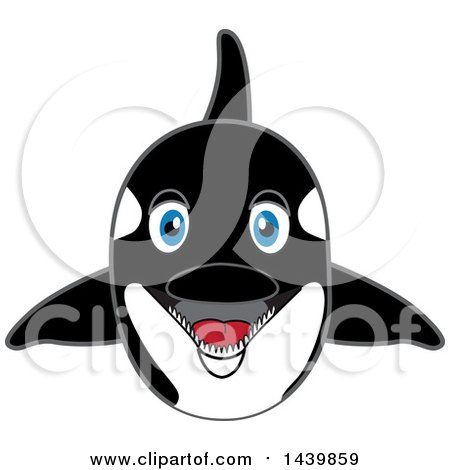Clipart of a Killer Whale Orca School Mascot Character - Royalty Free Vector Illustration by Toons4Biz