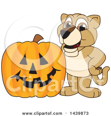 Clipart of a Lion Cub School Mascot Character with a Halloween Pumpkin - Royalty Free Vector Illustration by Toons4Biz
