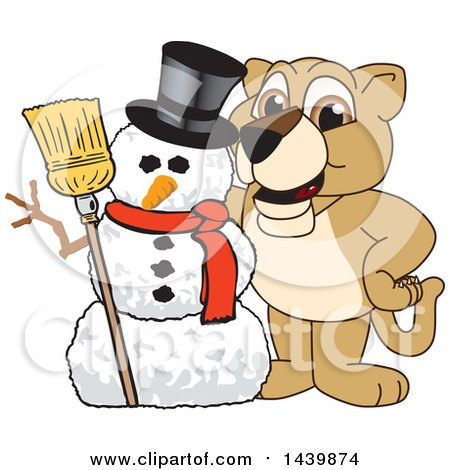 Clipart of a Lion Cub School Mascot Character with a Snowman - Royalty Free Vector Illustration by Toons4Biz
