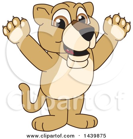 Clipart of a Lion Cub School Mascot Character Cheering - Royalty Free Vector Illustration by Toons4Biz