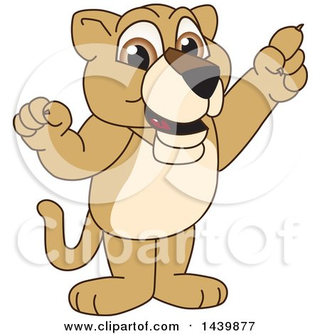 Clipart of a Lion Cub School Mascot Character Holding up a Finger - Royalty Free Vector Illustration by Toons4Biz