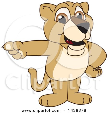 Clipart of a Lion Cub School Mascot Character Pointing - Royalty Free Vector Illustration by Toons4Biz