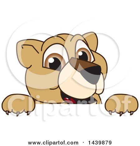 Clipart of a Lion Cub School Mascot Character Looking over a Sign - Royalty Free Vector Illustration by Toons4Biz