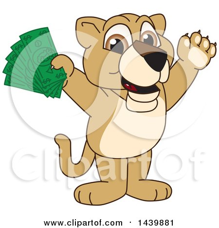Clipart of a Lion Cub School Mascot Character Holding Cash Money - Royalty Free Vector Illustration by Toons4Biz