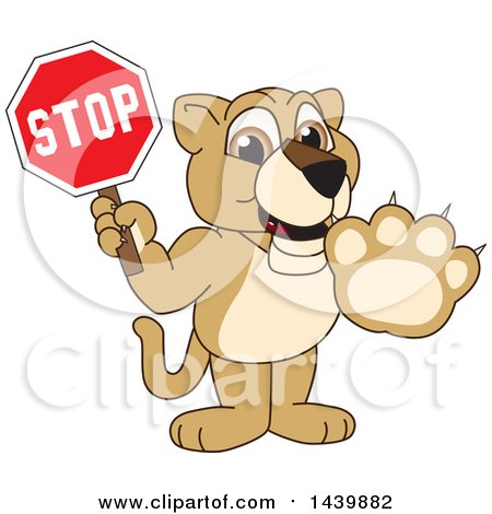 Clipart of a Lion Cub School Mascot Character Holding a Stop Sign - Royalty Free Vector Illustration by Toons4Biz
