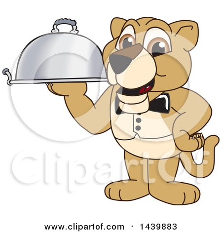 Clipart of a Lion Cub School Mascot Character Waiter Holding a Cloche Platter - Royalty Free Vector Illustration by Toons4Biz