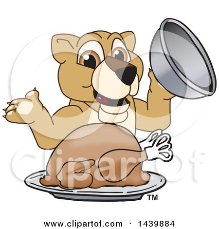 Clipart of a Lion Cub School Mascot Character Serving a Roasted Thanksgiving Turkey - Royalty Free Vector Illustration by Toons4Biz