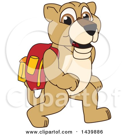 Clipart of a Lion Cub School Mascot Character Wearing a Backpack - Royalty Free Vector Illustration by Toons4Biz