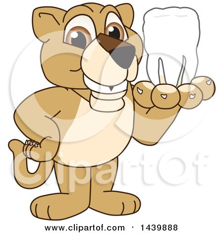 Clipart of a Lion Cub School Mascot Character Holding a Tooth - Royalty Free Vector Illustration by Toons4Biz