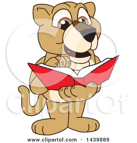 Clipart of a Lion Cub School Mascot Character Reading a Book - Royalty Free Vector Illustration by Toons4Biz