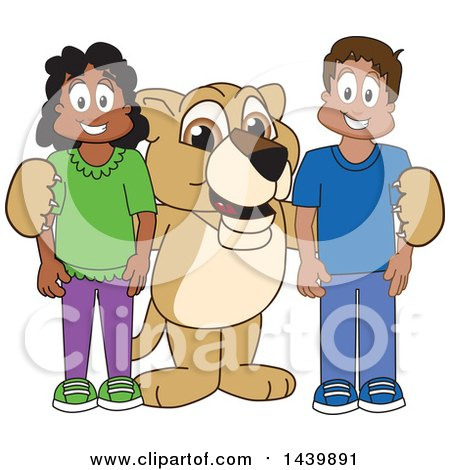 Clipart of a Lion Cub School Mascot Character with Happy Students - Royalty Free Vector Illustration by Toons4Biz