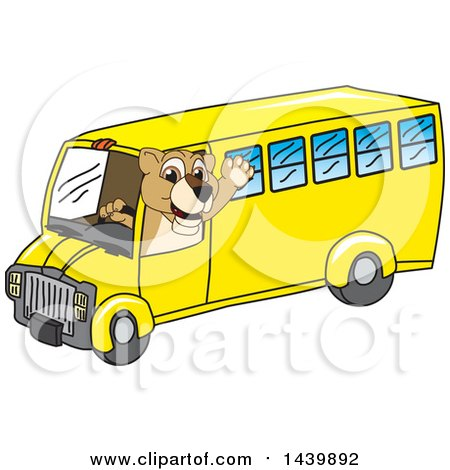 Clipart of a Lion Cub School Mascot Character Driving a School Bus - Royalty Free Vector Illustration by Toons4Biz