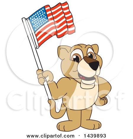 Clipart of a Lion Cub School Mascot Character Waving an American Flag - Royalty Free Vector Illustration by Toons4Biz