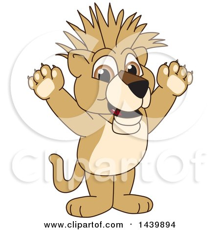Clipart of a Lion Cub School Mascot Character with a Mohawk - Royalty Free Vector Illustration by Toons4Biz