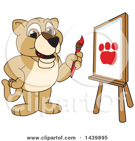 Clipart of a Lion Cub School Mascot Character Painting - Royalty Free Vector Illustration by Toons4Biz