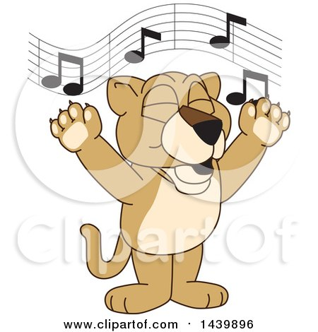 Clipart of a Lion Cub School Mascot Character Singing - Royalty Free Vector Illustration by Toons4Biz