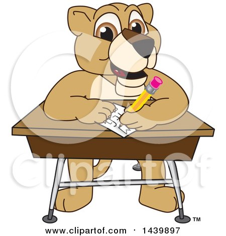 Clipart of a Lion Cub School Mascot Character Taking a Quiz - Royalty Free Vector Illustration by Toons4Biz
