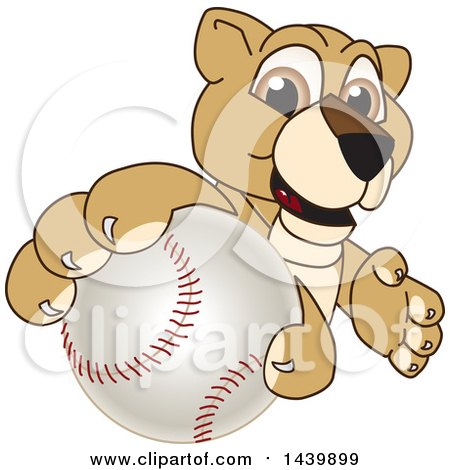 Clipart of a Lion Cub School Mascot Character Grabbing a Baseball - Royalty Free Vector Illustration by Toons4Biz