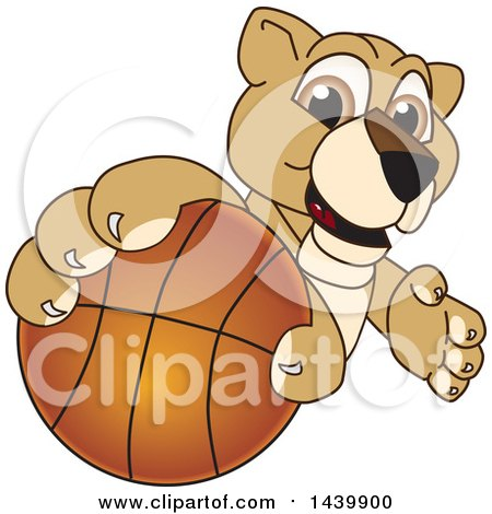 Clipart of a Lion Cub School Mascot Character Grabbing a Basketball - Royalty Free Vector Illustration by Toons4Biz
