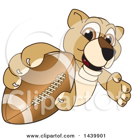 Clipart of a Lion Cub School Mascot Character Grabbing a Football - Royalty Free Vector Illustration by Toons4Biz