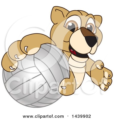Clipart of a Lion Cub School Mascot Character Grabbing a Volleyball - Royalty Free Vector Illustration by Toons4Biz
