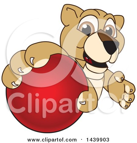 Clipart of a Lion Cub School Mascot Character Grabbing a Red Ball - Royalty Free Vector Illustration by Toons4Biz