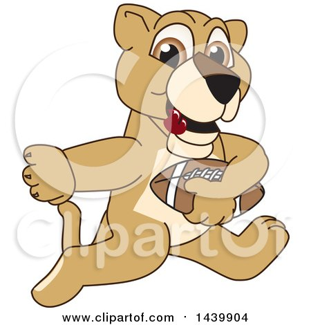 Clipart of a Lion Cub School Mascot Character Playing Football - Royalty Free Vector Illustration by Toons4Biz