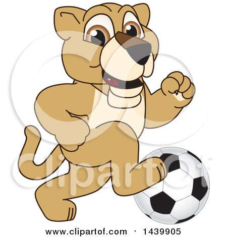 Clipart of a Lion Cub School Mascot Character Playing Soccer - Royalty Free Vector Illustration by Toons4Biz