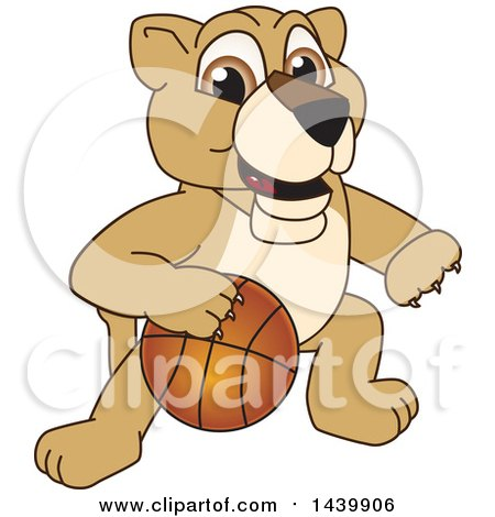 Clipart of a Lion Cub School Mascot Character Playing Basketball - Royalty Free Vector Illustration by Toons4Biz