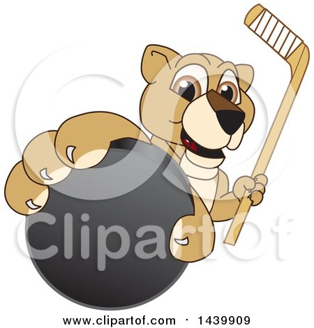 Clipart of a Lion Cub School Mascot Character Grabbing a Hockey Puck and Holding a Stick - Royalty Free Vector Illustration by Toons4Biz