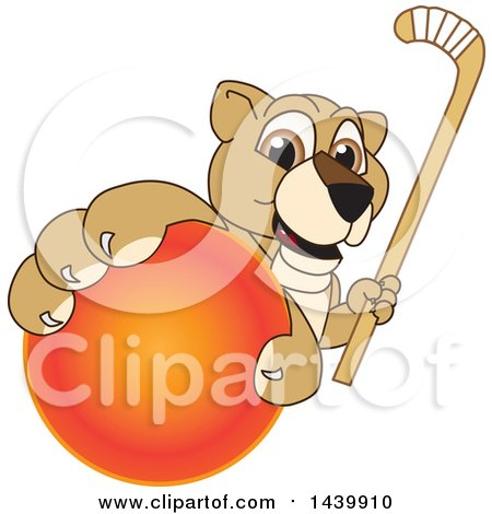 Clipart of a Lion Cub School Mascot Character Grabbing a Hockey Ball and Holding a Stick - Royalty Free Vector Illustration by Toons4Biz
