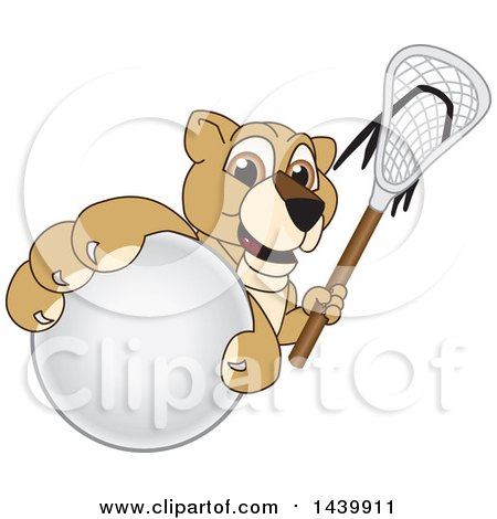 Clipart of a Lion Cub School Mascot Character Grabbing a Lacrosse Ball and Holding a Stick - Royalty Free Vector Illustration by Toons4Biz